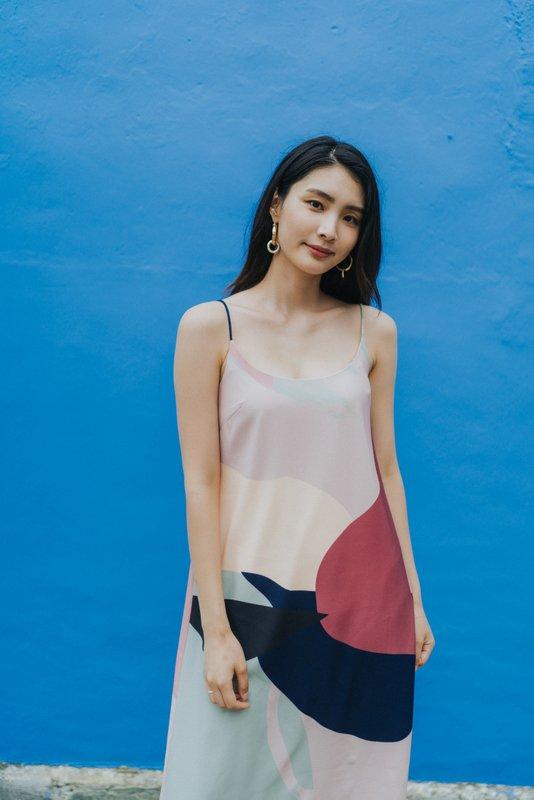Nova Abstract Midi Slip Dress in Pink