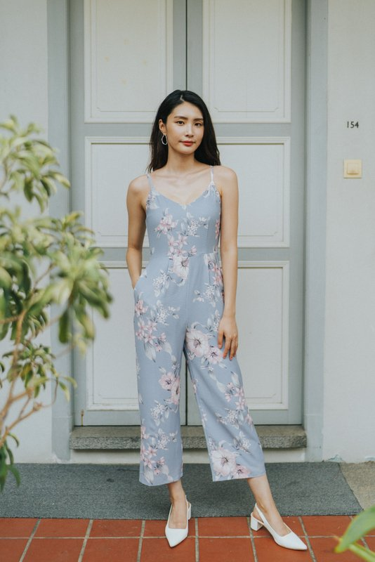 Marlee Floral Wide Leg Jumpsuit in Dusty Blue