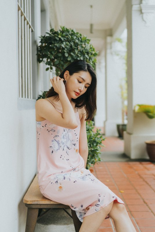 Bianca Floral Slip Midi Dress in Pink