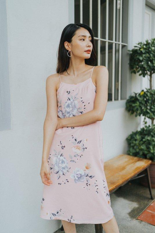 Bianca Floral Slip Midi Dress in Pink