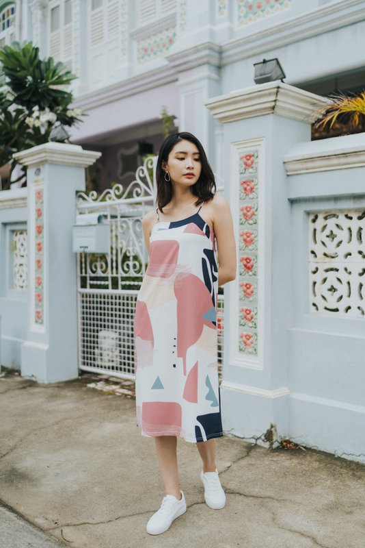 Cara Abstract Slip Dress in Rose
