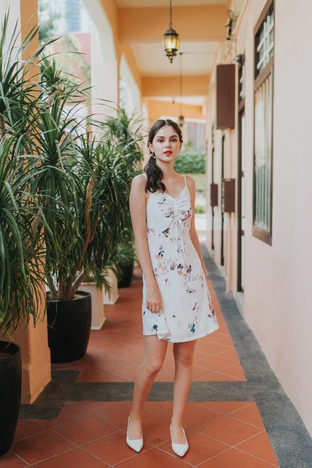 Cammy Ruched Floral Dress in White