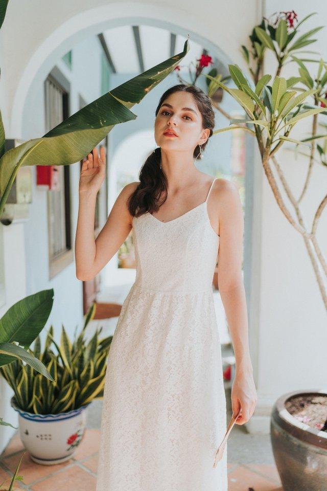 Svetlana Premium Lace Midi Dress in White