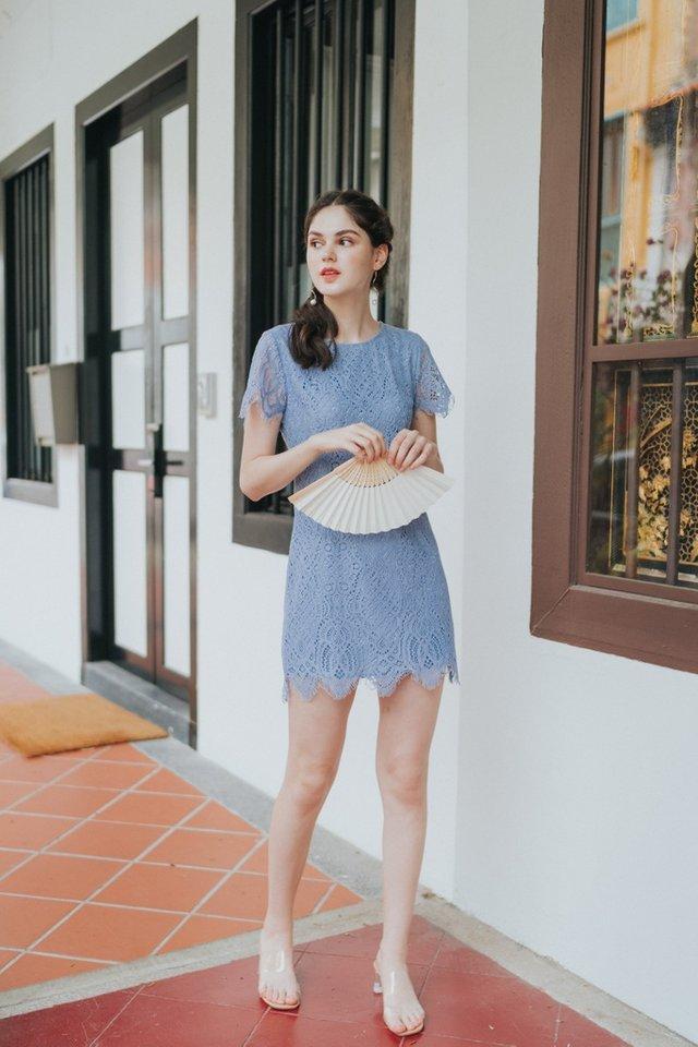 Gladys Premium Crochet Scallop Hem Dress in Lavender