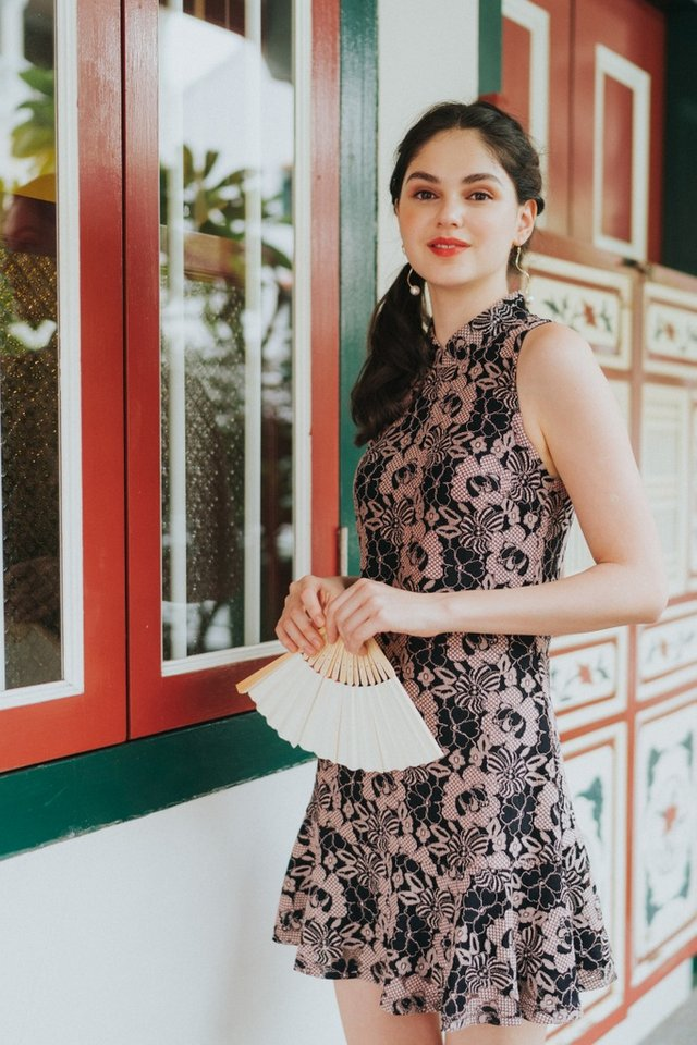 Taine Lace Cheongsam Dress in Black