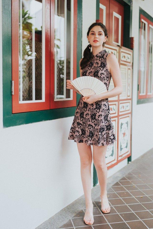 Taine Lace Cheongsam Dress in Black