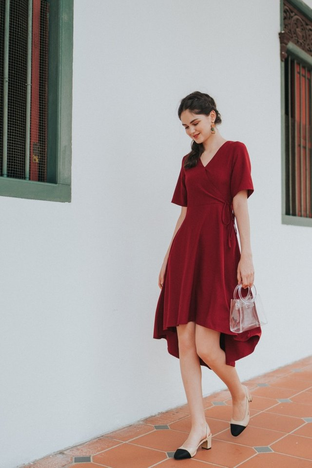 Karlyn Asymmetrical Midi Dress in Wine