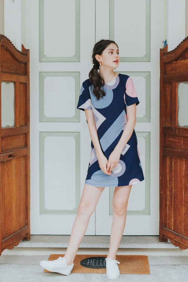 Jacinda Geometric Shift Dress in Navy