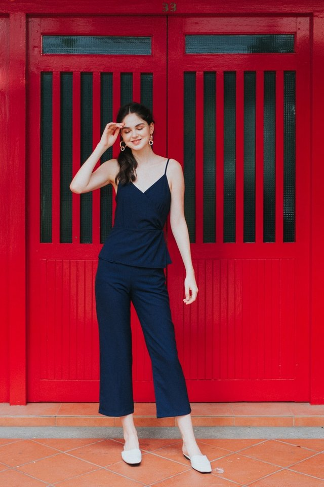 Queena Peplum Jumpsuit in Navy