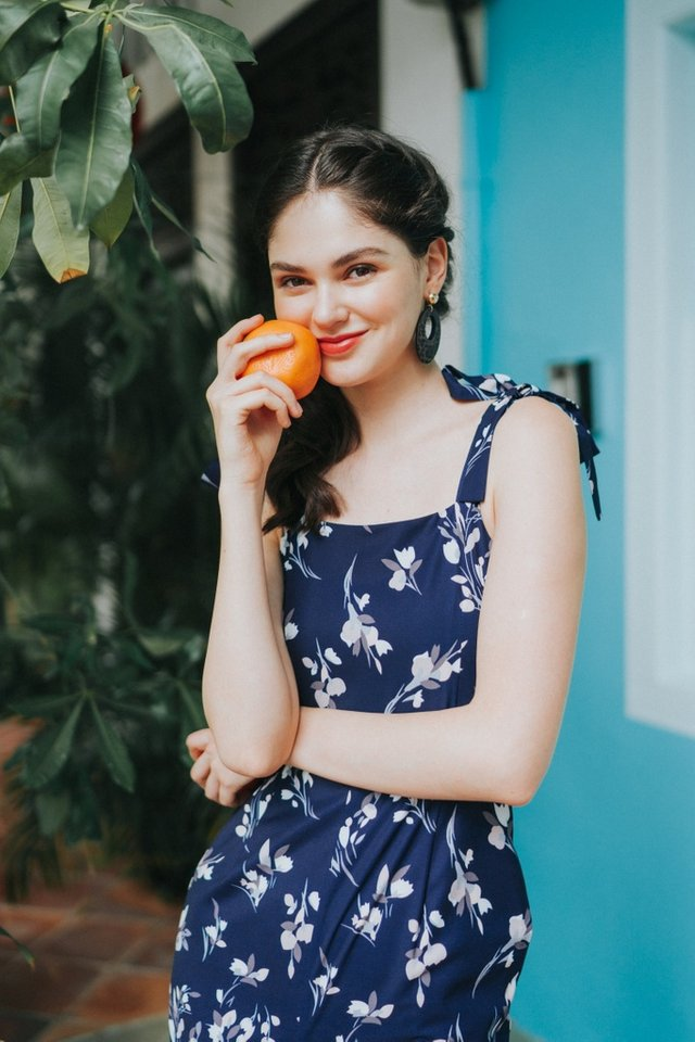 Rhea Floral Ribbon Jumpsuit in Navy