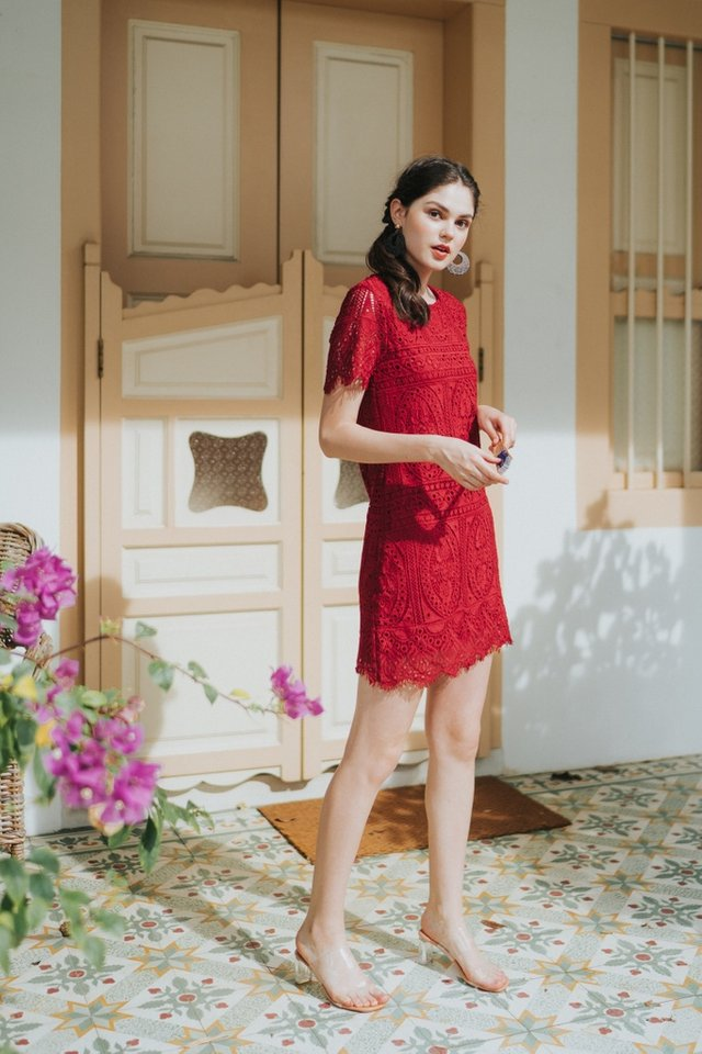 Odina Premium Crochet Sleeved Dress in Red