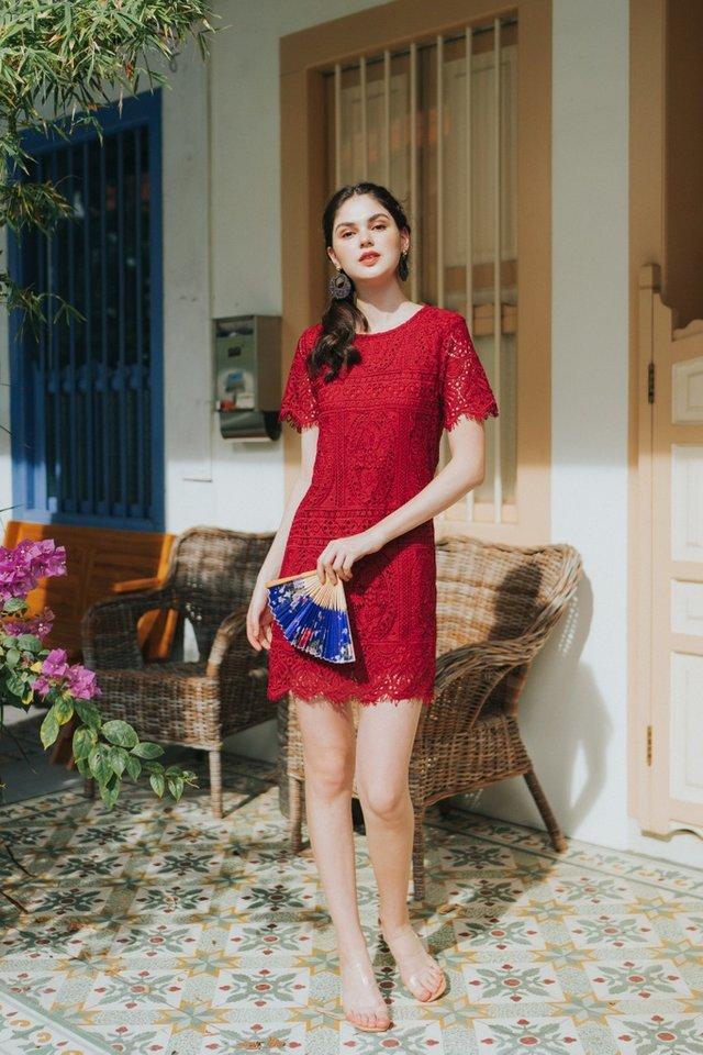 Odina Premium Crochet Sleeved Dress in Red