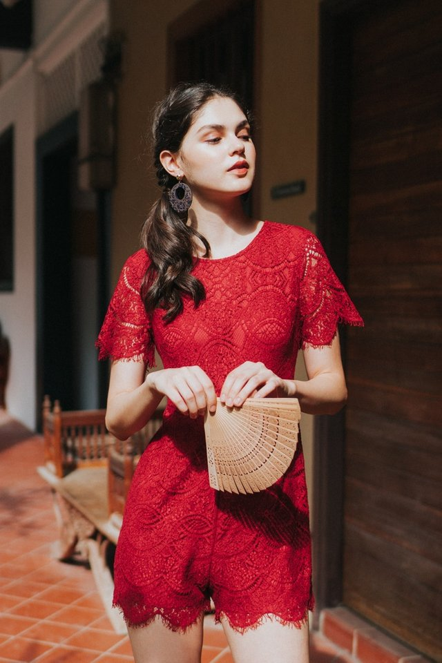 Valia Premium Lace Sleeved Romper in Red