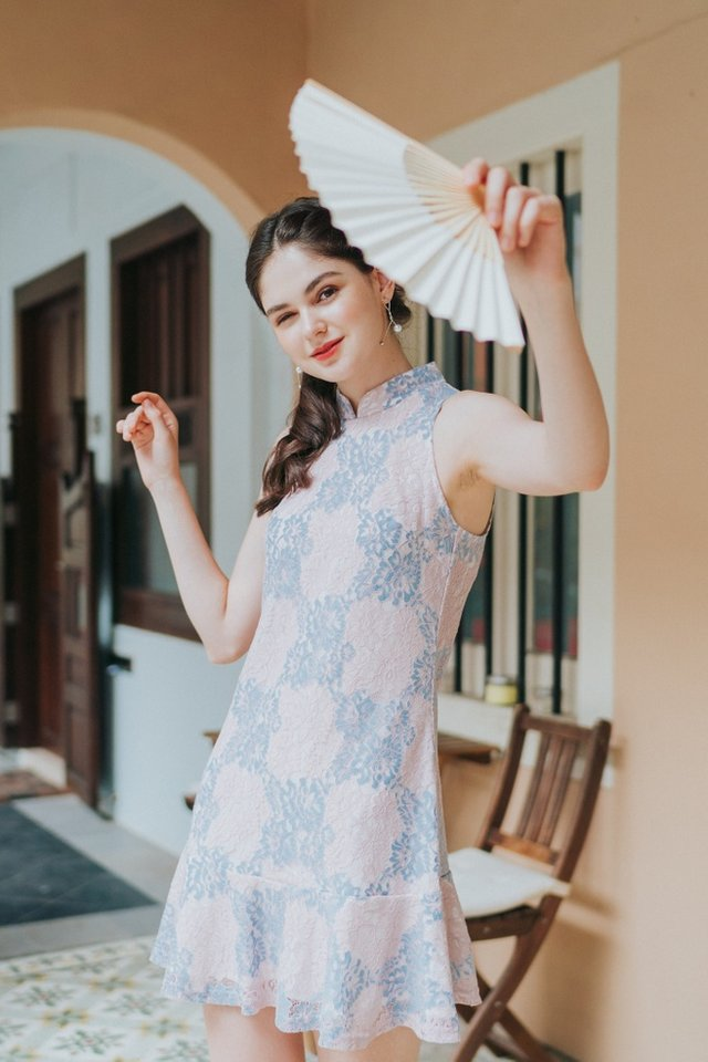 Jovita Premium Lace Cheongsam Dress in Pink