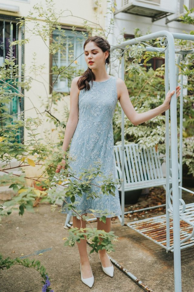 Christie Premium Lace Dropwaist Midi Dress in Blue