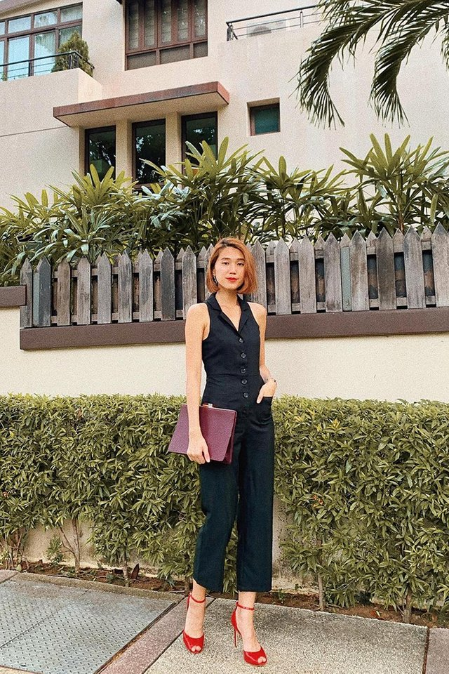 Whitlee Collar Button Jumpsuit in Black
