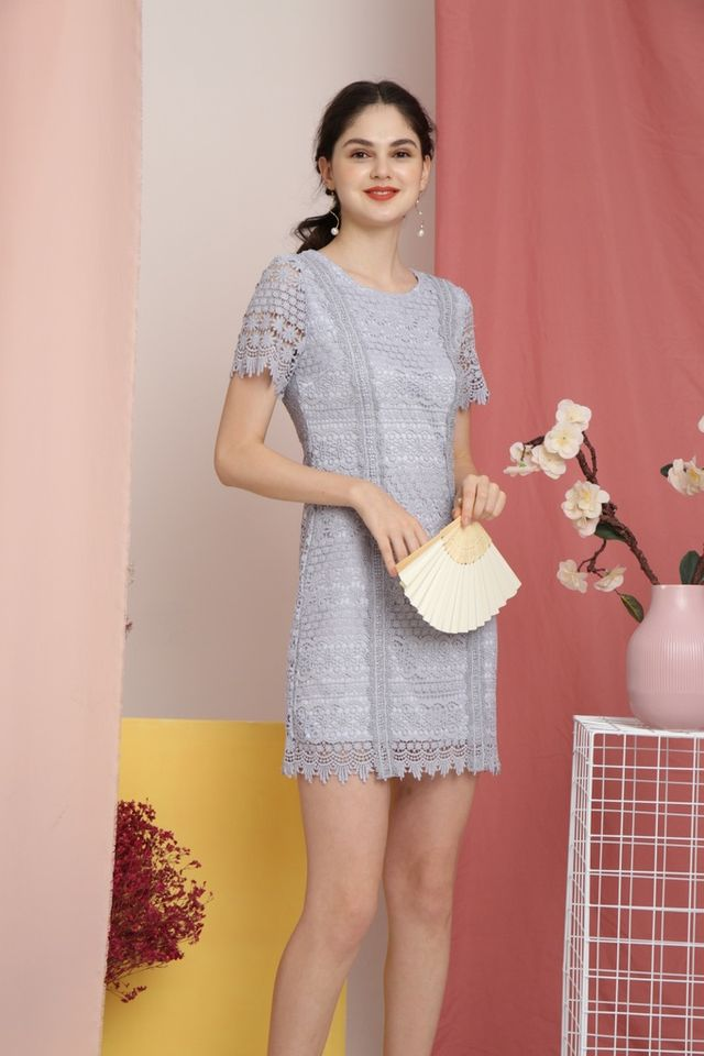 Lerola Premium Crochet Sleeved Dress in Blue