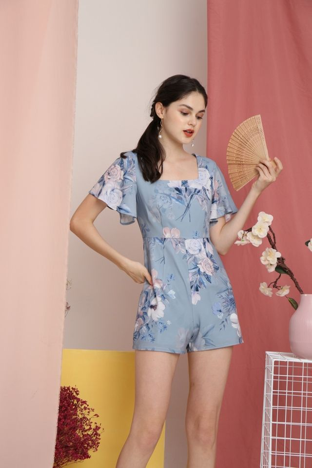 Jodie Floral Square-Neck Romper in Blue (XS)