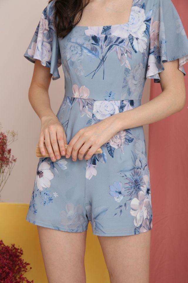 Jodie Floral Square-Neck Romper in Blue