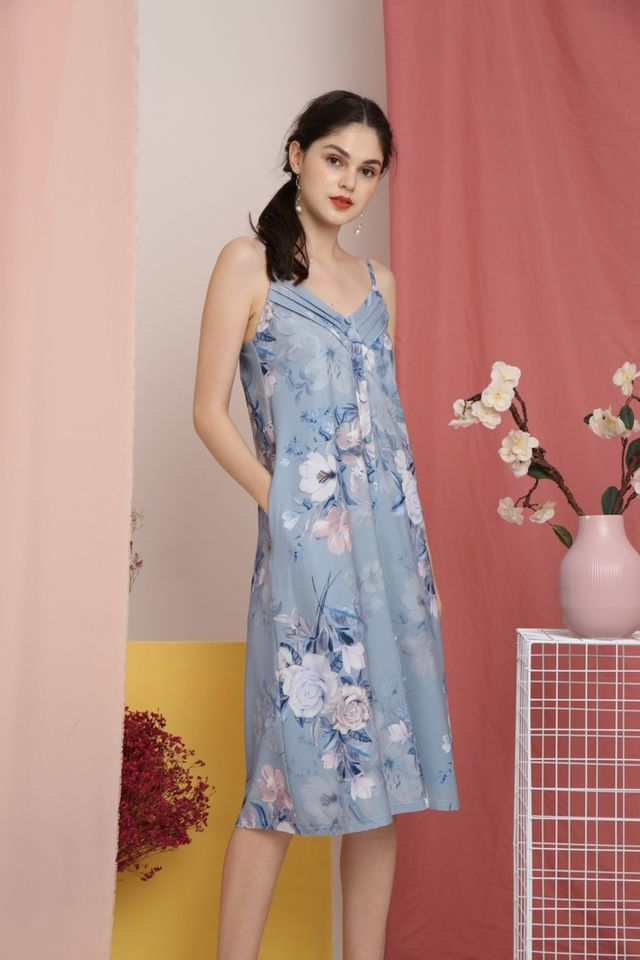 Amberly Floral Button Midi Dress in Blue