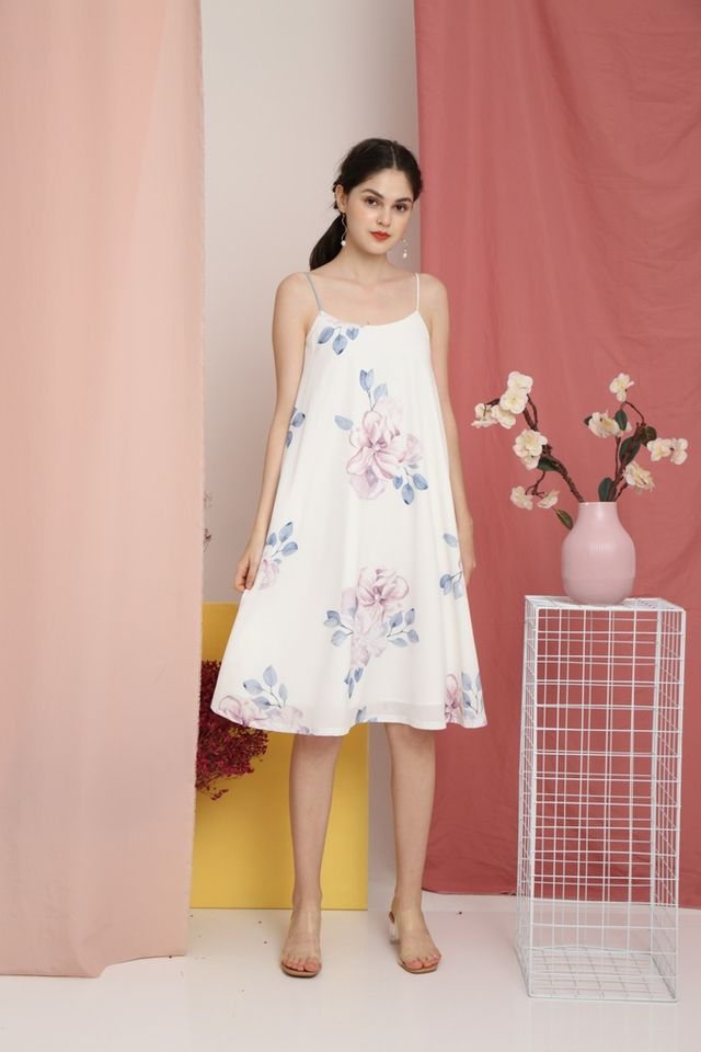 Romaine Floral Midi Dress in White