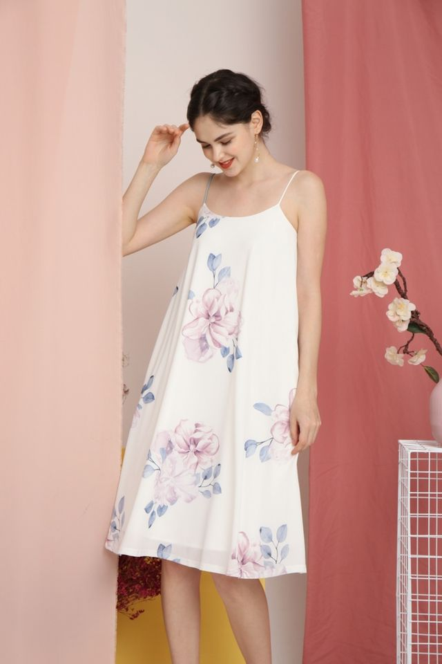 Romaine Floral Midi Dress in White