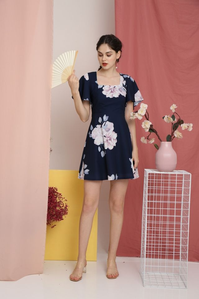 Thisbe Floral Square-Neck Dress in Navy