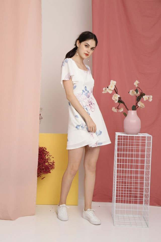 Thisbe Floral Square-Neck Dress in White