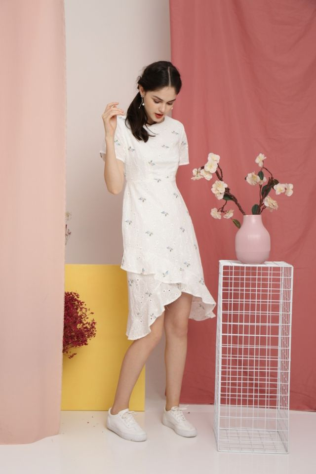 *RESTOCK* Fawn Periwinkle Eyelet Petal Hem Dress in White