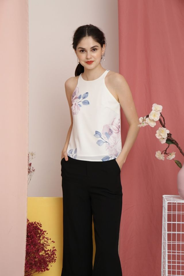 Marcella Floral Cut-In Top in White