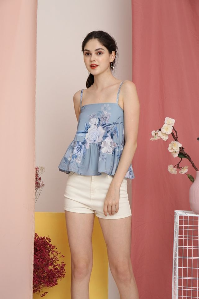 Maine Floral Peplum Top in Blue