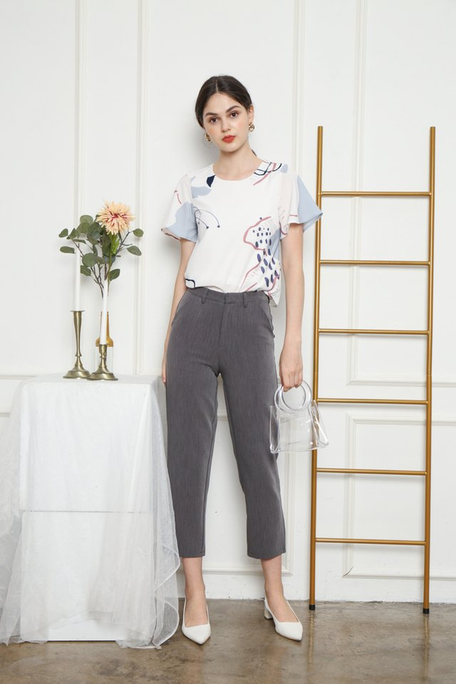 Farrell Peg Leg Pants in Grey