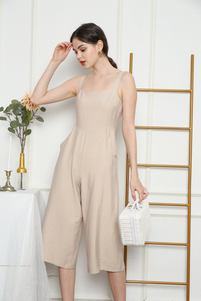 Kaylin Pocket Jumpsuit in Beige