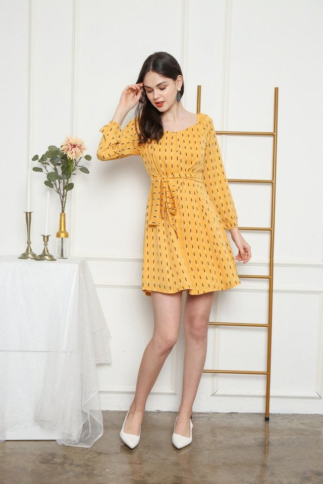 Baylee Elastic Shoulder Button Dress in Mustard