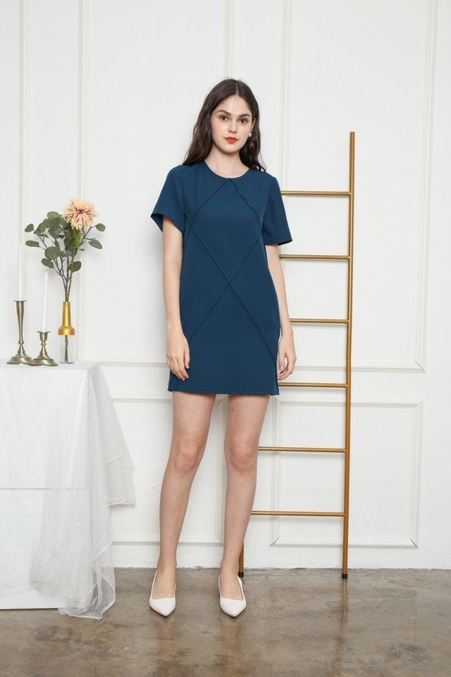 Fenella Pocket Shift Dress in Teal