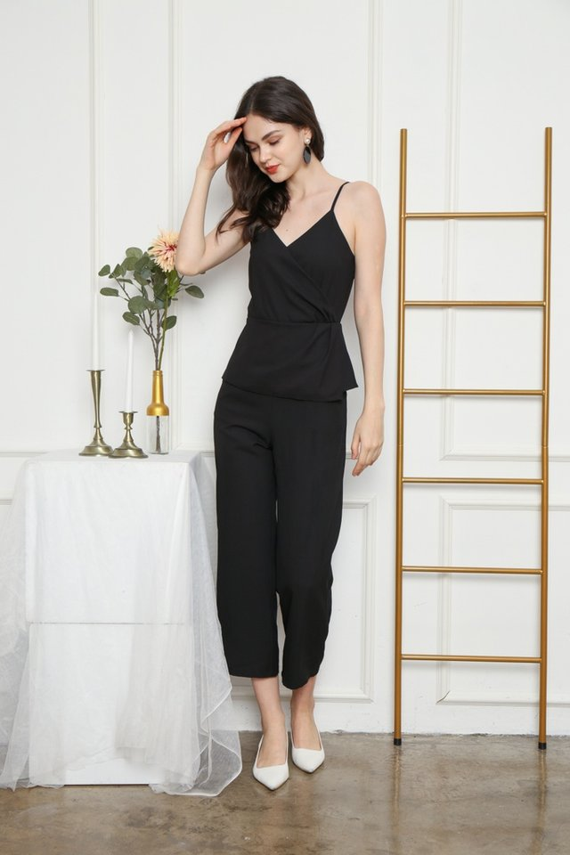 Queena Peplum Jumpsuit in Black