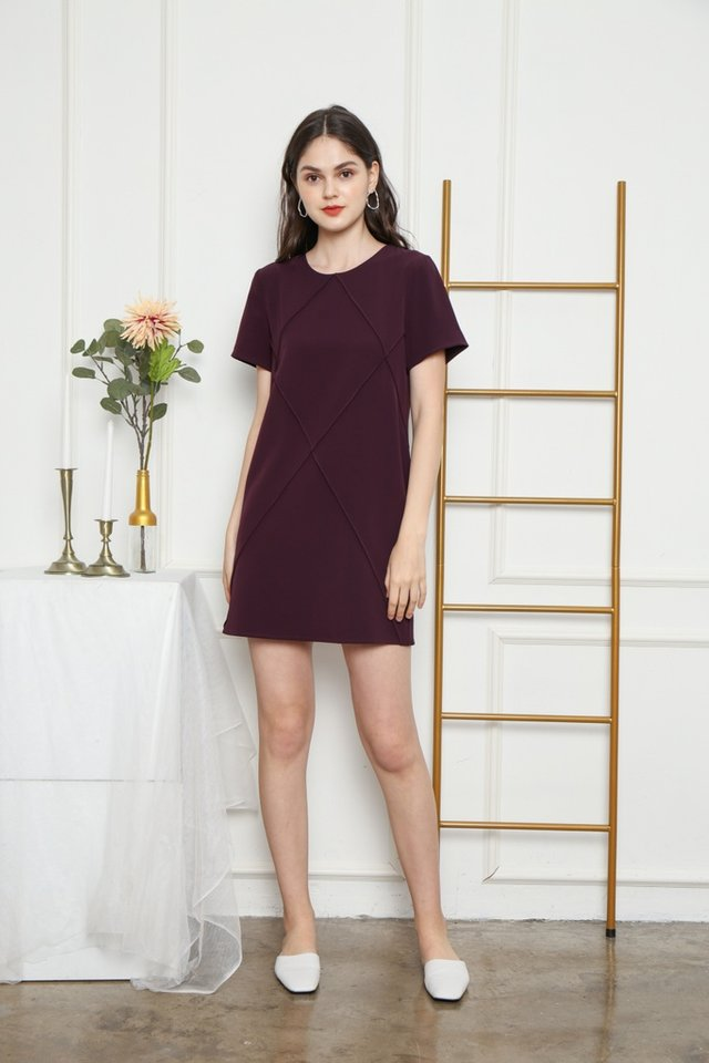 Fenella Pocket Shift Dress in Plum
