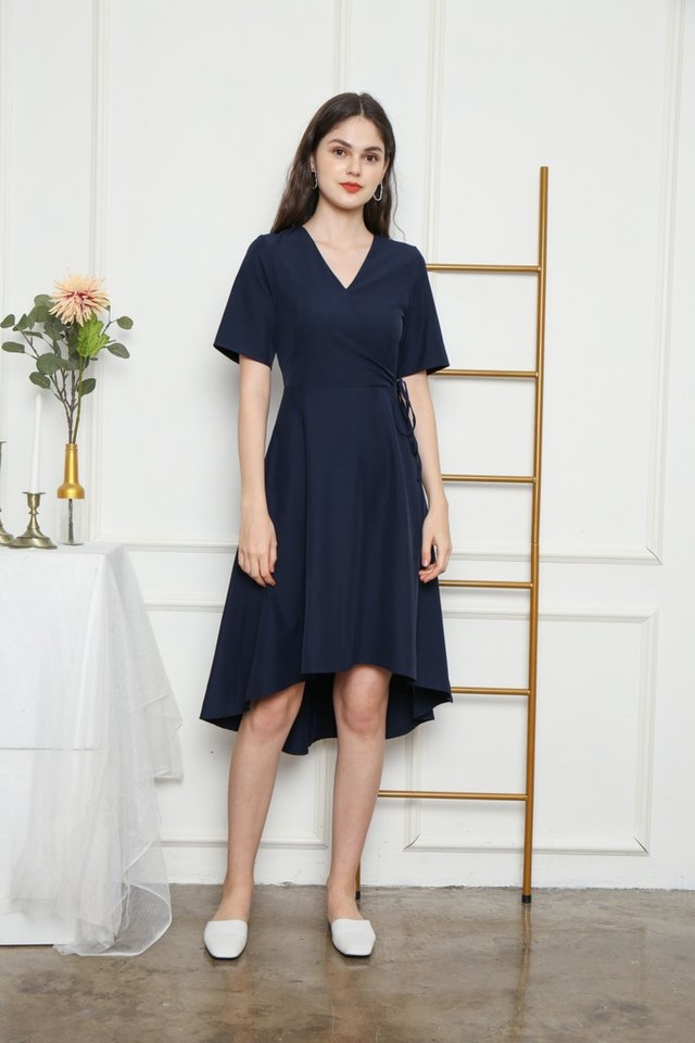 Karlyn Asymmetrical Midi Dress in Navy