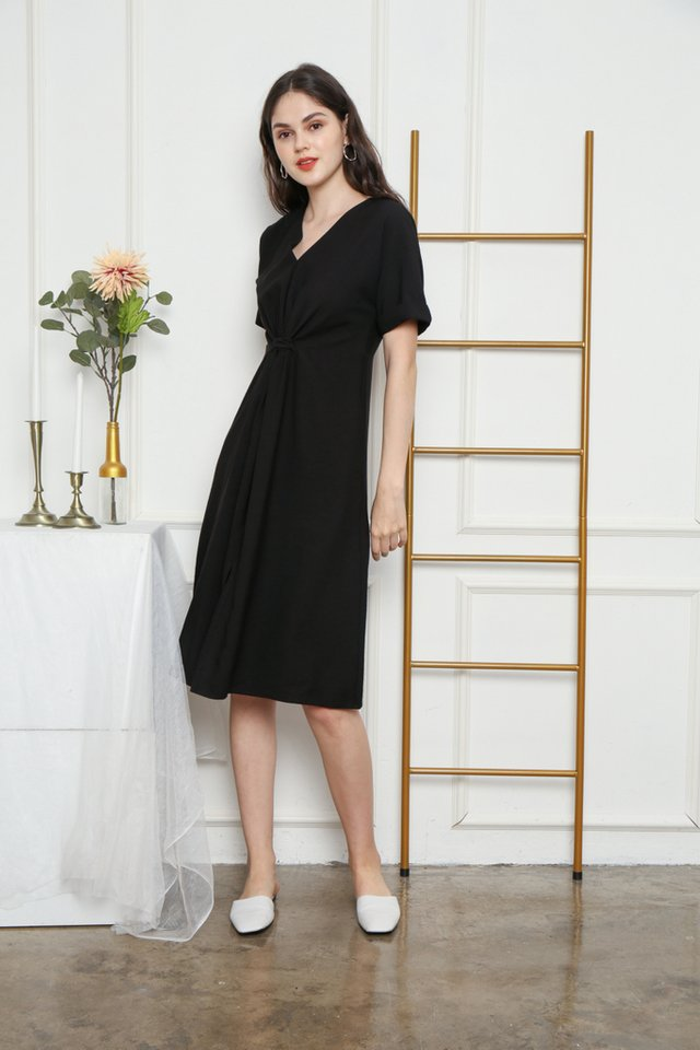 Ellema Knotted Midi Dress in Black