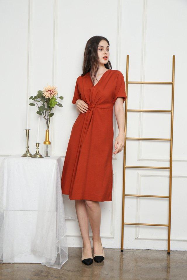 Ellema Knotted Midi Dress in Rust (XS)