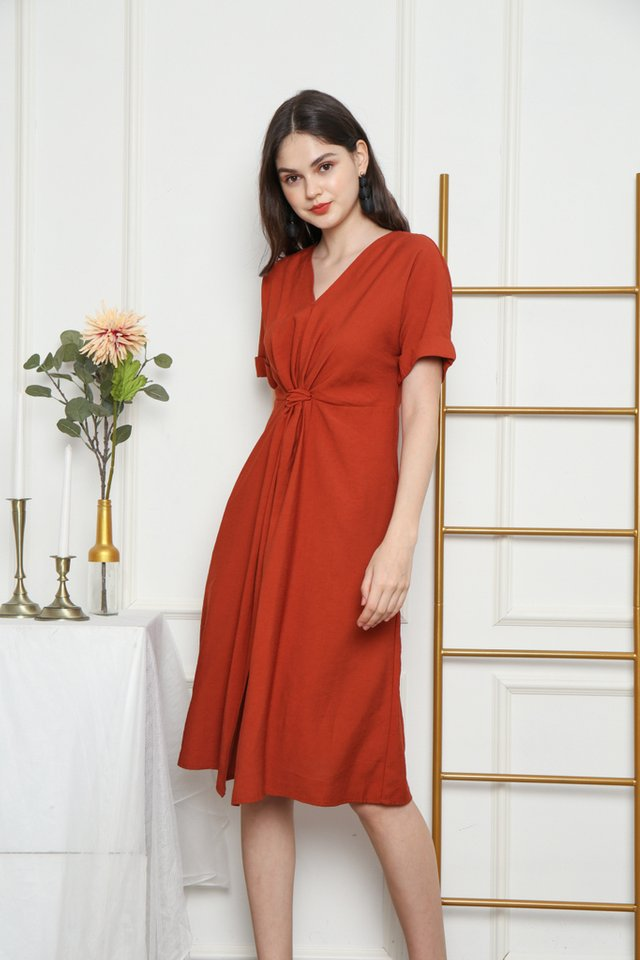 Ellema Knotted Midi Dress in Rust