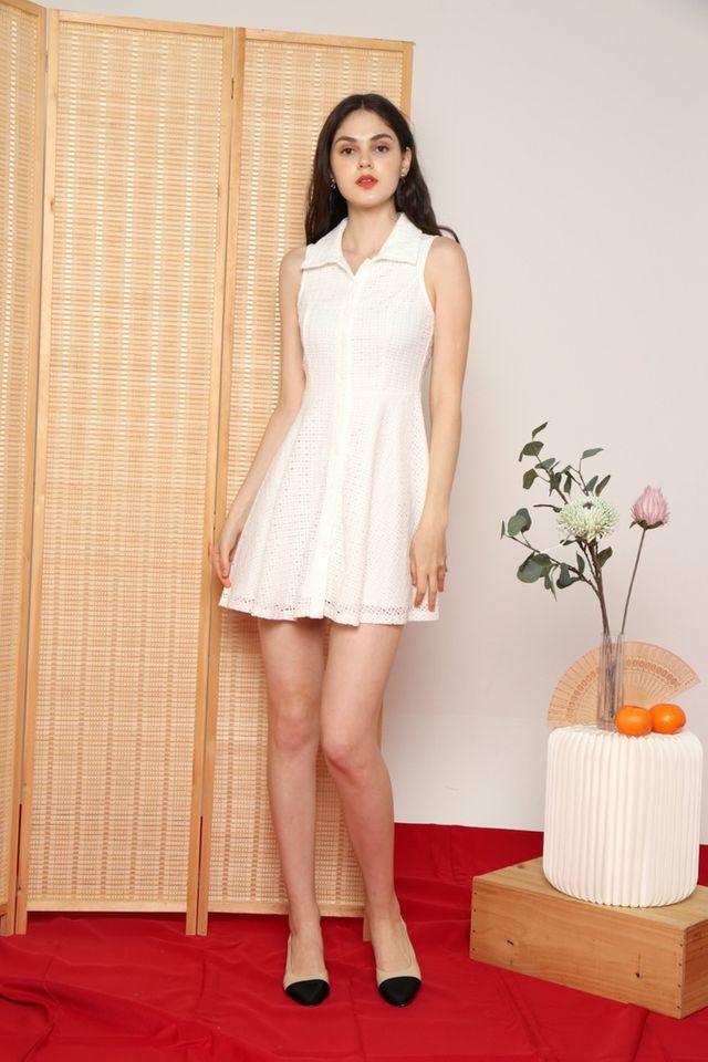 Nanette Premium Collared Eyelet Dress in White
