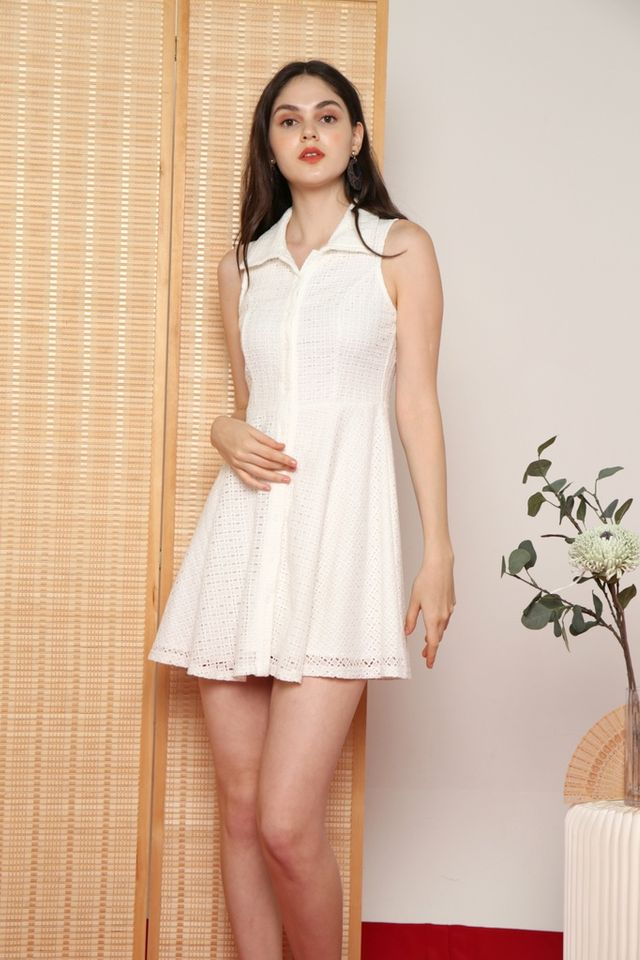 Nanette Premium Collared Eyelet Dress in White