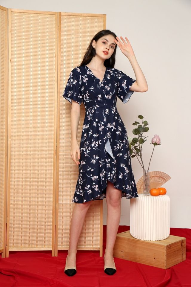Damica Floral Ruffled Midi Dress in Navy