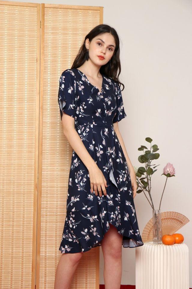 Damica Floral Ruffled Midi Dress in Navy