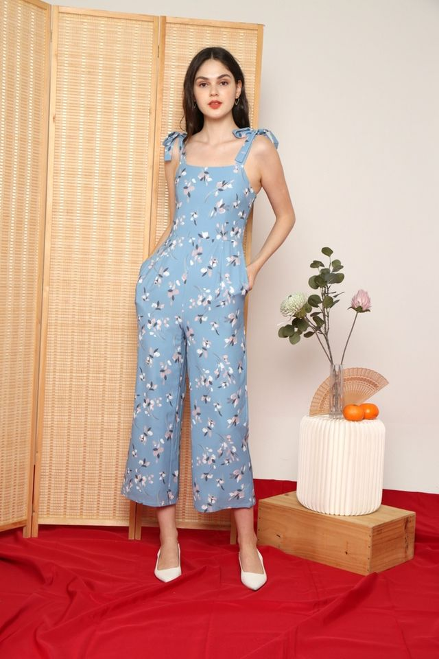 Rhea Floral Ribbon Jumpsuit in Sapphire Blue