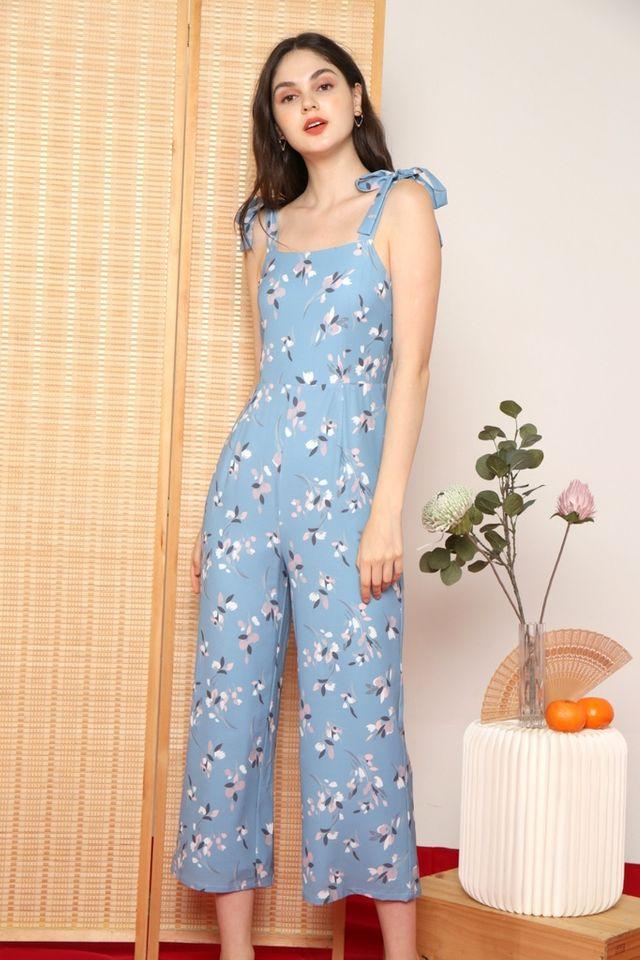 Rhea Floral Ribbon Jumpsuit in Sapphire Blue