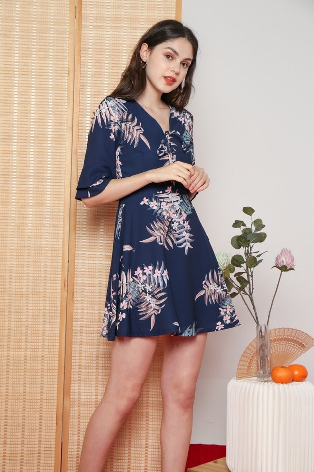 Jolie Floral Ruffled Ribbon Dress in Navy