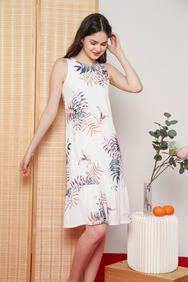 Galina Floral Dropwaist Dress in White