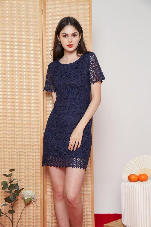 Xoey Premium Crochet Sleeved Dress in Navy